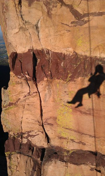 Photo I took of myself while on rappel. What a cool rock!