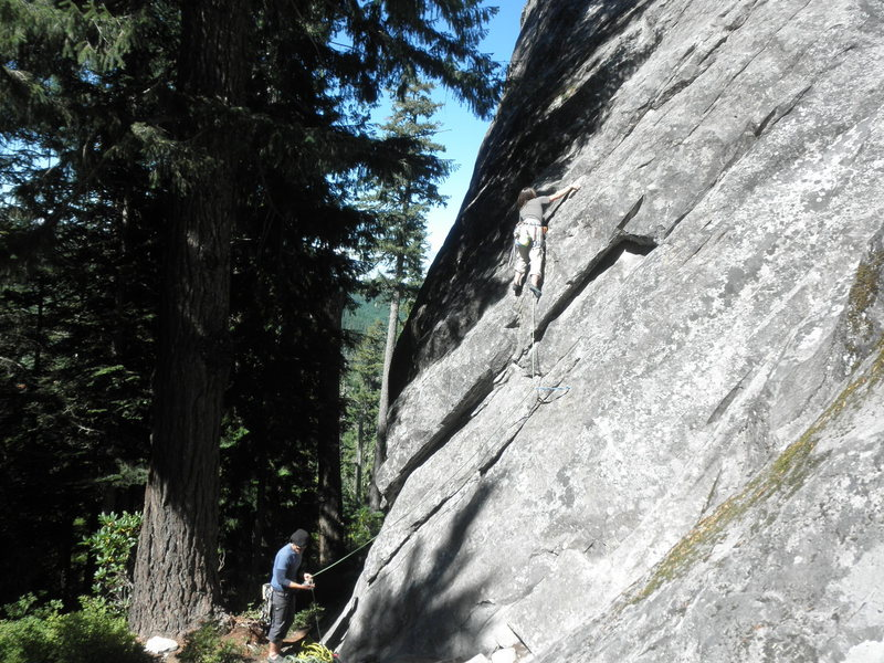Rock Climbing Photo: Brooklyn Gose leading the common start of Acne Pro...