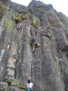 Rock Climbing Photo: Cory runs up Safety Dance.