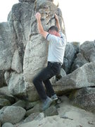 Rock Climbing Photo: Looking for the foothold after the match on the sl...