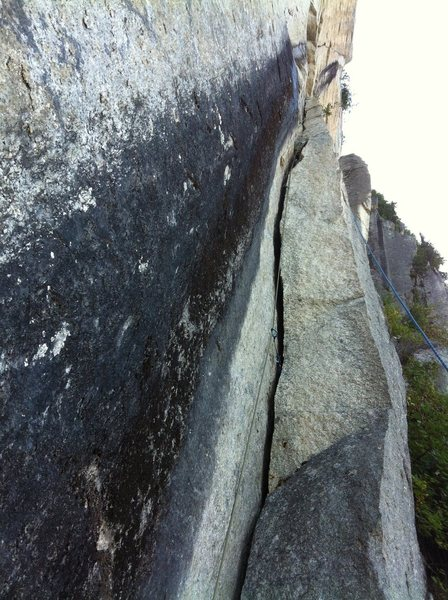 Rock Climbing Photo: The P3 flake-crack being led by Ross Mailloux of S...