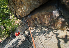 Rock Climbing Photo: Looking down Double Chin from the rappel tree. Two...