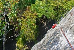 Rock Climbing Photo: Climber following the upper half of Horseman.