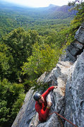 Rock Climbing Photo: Pulling over the 2nd roof at the top of P1 on Jack...