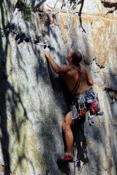 Middle Finger Backside<br> <br> Pleasant Dreams (5.8) mixed<br> <br> Crowders Mountain State Park, North Carolina
