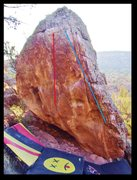 Rock Climbing Photo: Clash Remains problem in red.