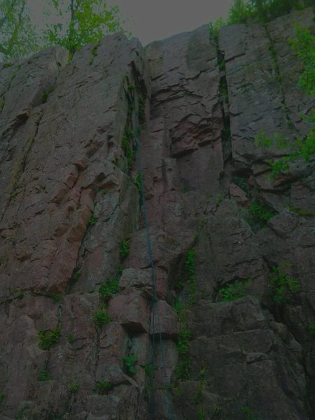 Shows TOP section of the tower at South Wall, Palisades, SD, on which Mystery Climb, Sweet Areta, and Beginner's Thruch are found.