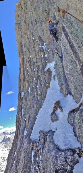 Rock Climbing Photo: Pitch 4. Left half a set of chocks bailing off P5....
