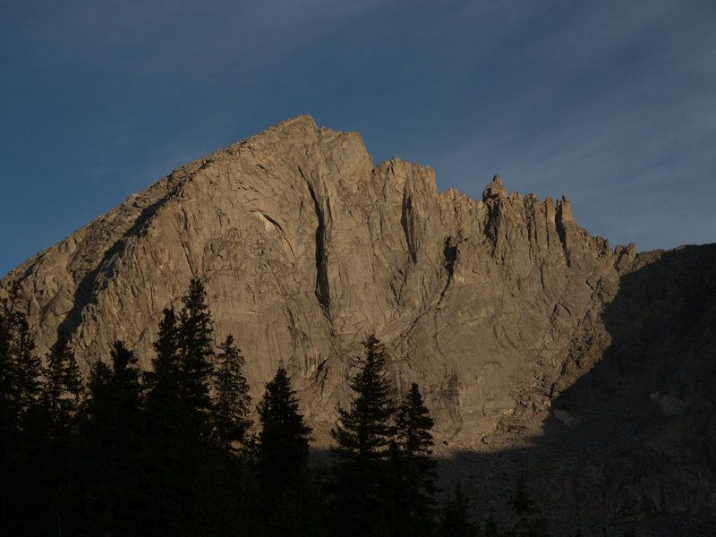 Bollinger Peak from Shadow Lake. The North East Ridge is the left skyline.
