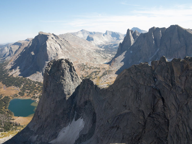 View from Summit of Bollinger looking South East.<br> In foreground are (L-R) Pingora, Tiger Tower and Wolf's Head North Faces. East Ridge of Wolf's Head is the foreground ridge.In Background are Mount Mitchell, Wind River Peak, Haystack, Steeple Peak, East Temple Peak, Warbonnet, Mount Temple,Warrior 1 and Warrior 2.