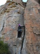 Rock Climbing Photo: Placing pro at the start- Fun stemming- I loved th...