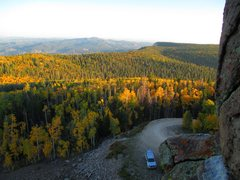 Rock Climbing Photo: Looking down at the parking area from atop the cli...