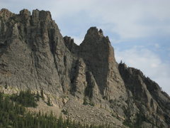 Rock Climbing Photo: [This route] is on the triangular face on the righ...