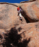 Rock Climbing Photo: Ascending the crux of the route. 14 October 2010. ...