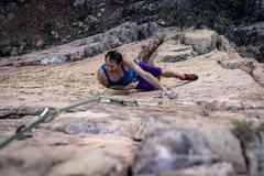 Rock Climbing Photo: Climber Clif on Dizzi Lizzi - 1; Photo by Doug Lin...