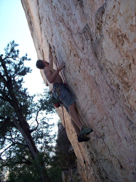 Climber Kevin Cruisin Cactus Rose Limestone Pockets; Photo by Clif Loucks