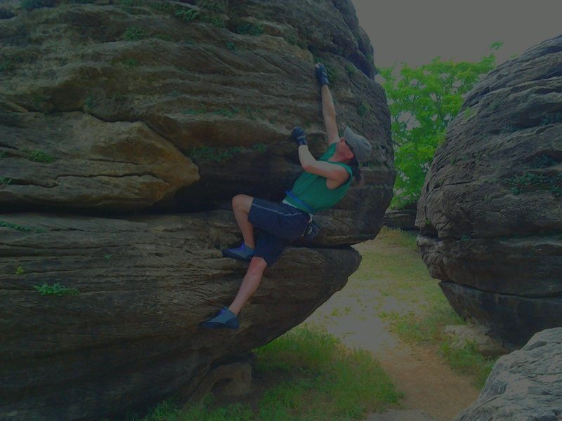 Rock Climbing Photo: That rock bites back:  Save the skin, wear the glo...