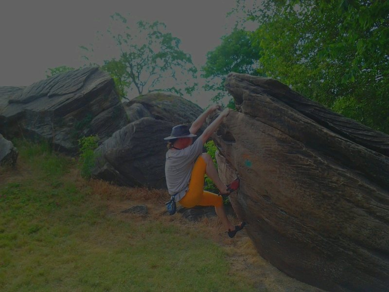 Rock Climbing Photo: Overhanging Boulder Sit-Start Problem with 2 moves...