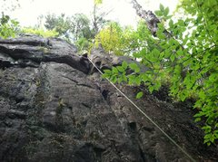 Rock Climbing Photo: Dylan Randall on the crux move of Figaro (5.7) Spr...