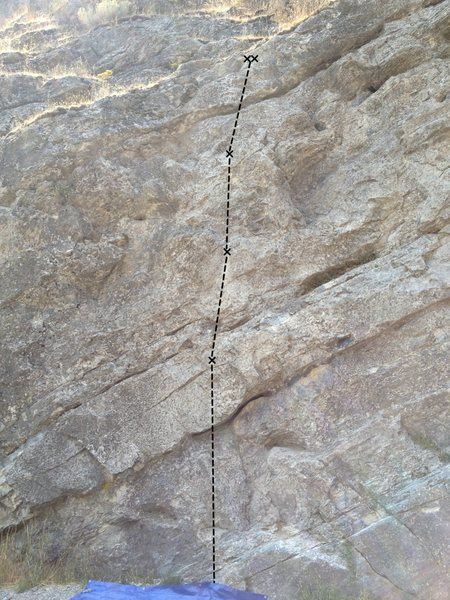 Rock Climbing Photo: Three bolts lead to a set of uneven chains. Two bo...