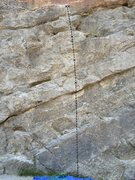 Rock Climbing Photo: Three bolts lead to a set of even chains. Two plus...