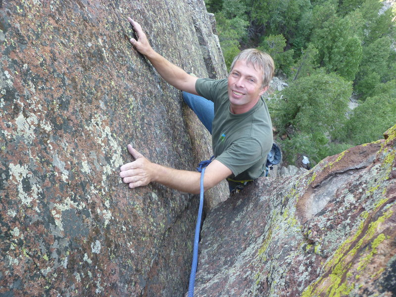 Rock Climbing Photo: Mark Roth near the top of Continental Corner.