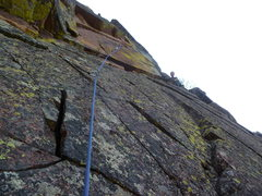 Rock Climbing Photo: The crux section with Mark at the belay.