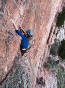Rock Climbing Photo: Audrey on Big Sky, her first lead. Taken from the ...