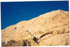 Rock Climbing Photo: A)Cry Not 5.7R B)Clouded Dreams 5.8R C)Come-Up-Pan...