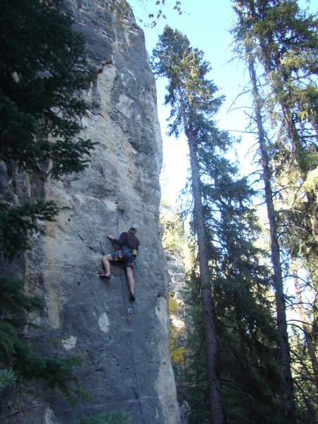 Ted commits to Party Foul, 5.11a.<br> <br> An awesome climb once you know the beta!