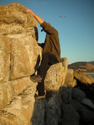 Rock Climbing Photo: Pulling on the rounded flake at the top to finish ...