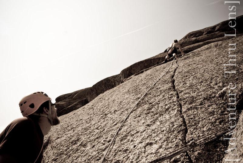 Finger crack variation on pitch 4 of Trail of Tears (5.9-).<br> <br> www.patrickbetts.zenfolio.com.<br> www.facebook.com/adventurethrulens.
