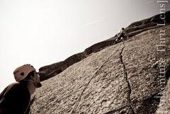Rock Climbing Photo: Finger crack variation on pitch 4 of Trail of Tear...