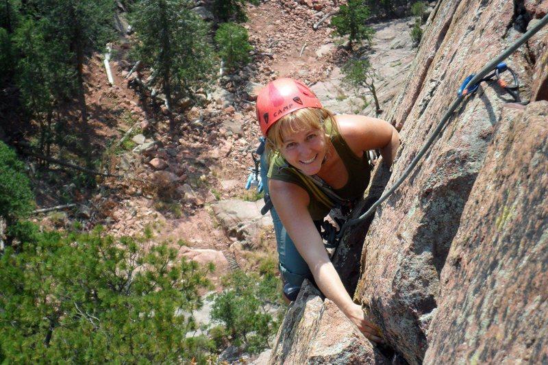 Brenda nears P3 belay after fun, steep 5.7 climbing.
