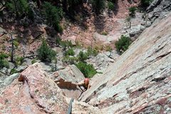 Rock Climbing Photo: Brenda works up the pitch 2 dihedral.