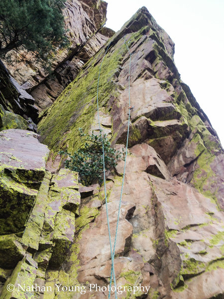 "VIew of the bolts clipped and the rope running.  There isn't a ton of drag, but as you step out onto the arrete above the 5th bolt, you need at least a 24"" runner to let the rope smoothly run along the main face.  Quick draws will not provide the reach you need to do this."
