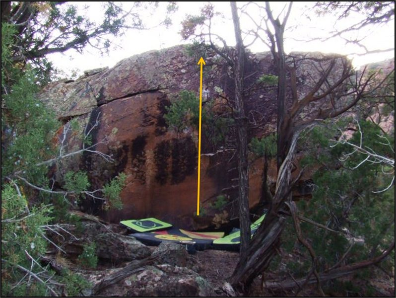 Duskian Suit problem on the Equinox Boulder.  Tough getting a shot of this one, but it shows the location well enough.