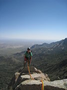 Rock Climbing Photo: Marta Reece walking up the narrow east ridge of Lo...
