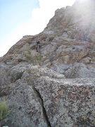 Rock Climbing Photo: Marta Reece scrambling up to the NE ridge of low h...