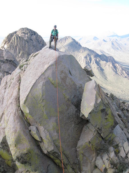 Rock Climbing Photo: Marta standing on the summit of 5.c, taken from th...