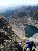 Rock Climbing Photo: Tony M. with Spectacle Lakes below.
