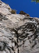 Rock Climbing Photo: To the top of the bolt line and then a sharp right...