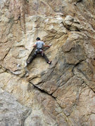 Rock Climbing Photo: Scott cleaning at the second crux.