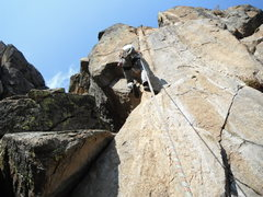 Rock Climbing Photo: P2 beginning crack, after placing pro from layback...
