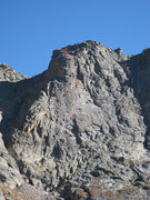 Rock Climbing Photo: The route, with scrambling in yellow and climbing ...