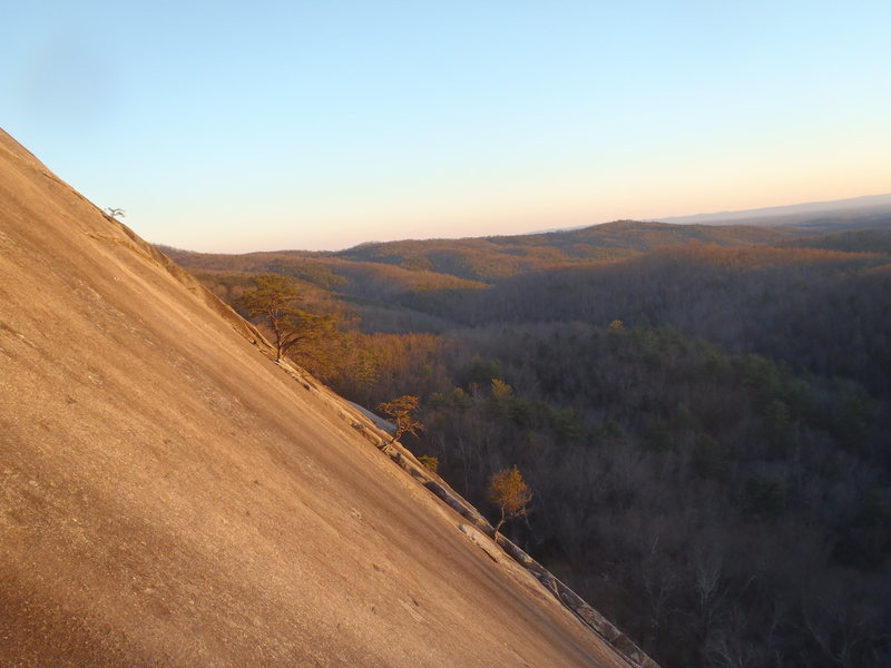 Distant view of No Alternative at Stone Mountain.