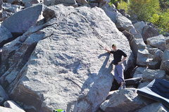 Rock Climbing Photo: Aaron in front of the boulder.