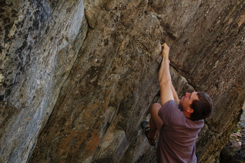 Rock Climbing Photo: Ethan starting the traverse