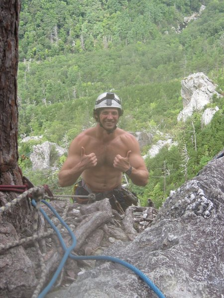 At the belay tree after pitch 2 of The Daddy, Fall 2012.  Favorite route in the Ampitheatre.