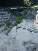Rock Climbing Photo: Looking down at the start of the crux 12a 9th pitc...
